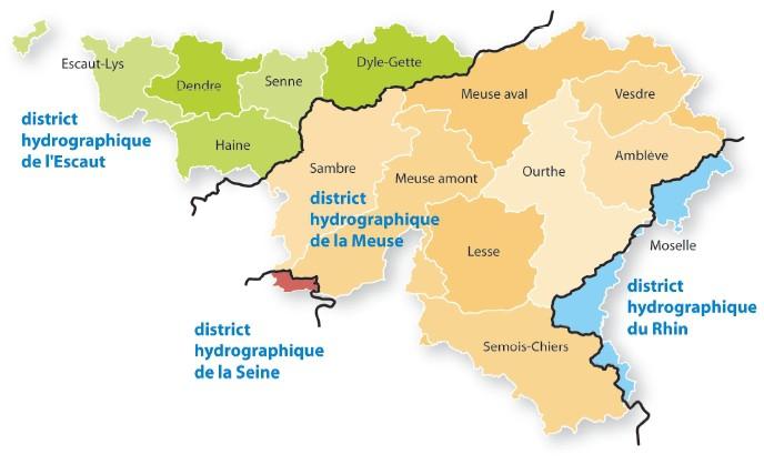 Carte des territoires des différents Contrats de Rivière par districts hydrographiques.