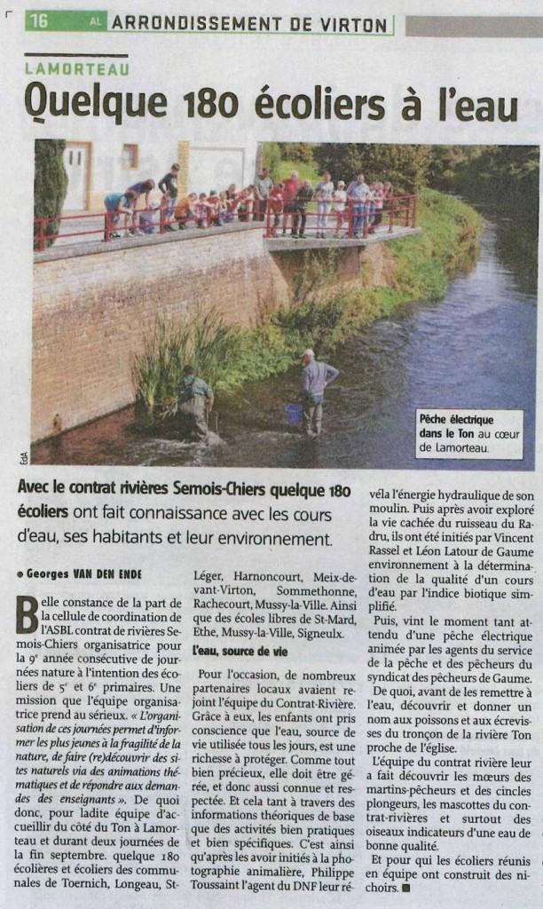 Avenir du Luxembourg 08/10/2014           Journées Nature - 18 et 19 septembre 2014 à Lamorteau (Rouvroy)