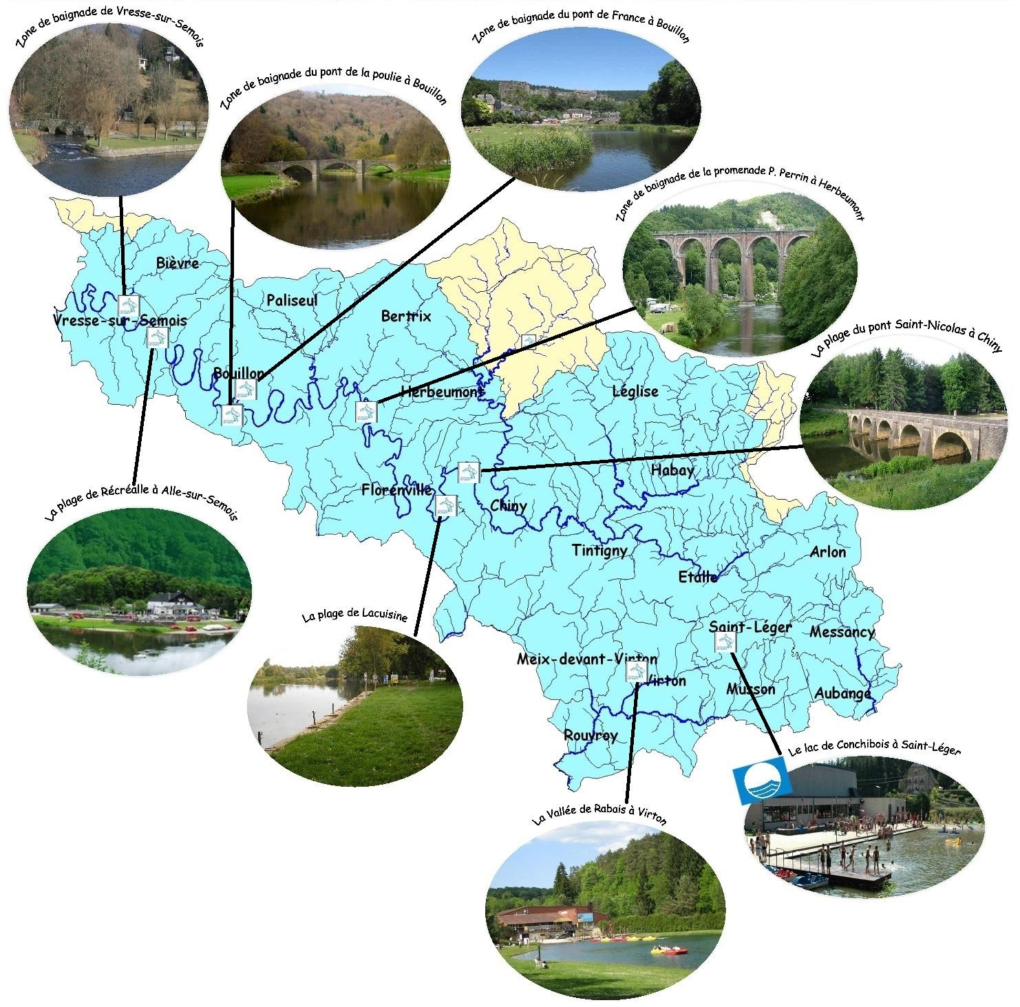 Carte des zones de baignade du sous-bassin Semois-Chiers.